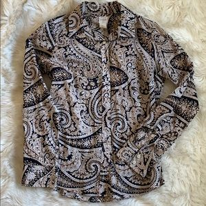 J. Crew The Perfect Shirt in Black Paisley